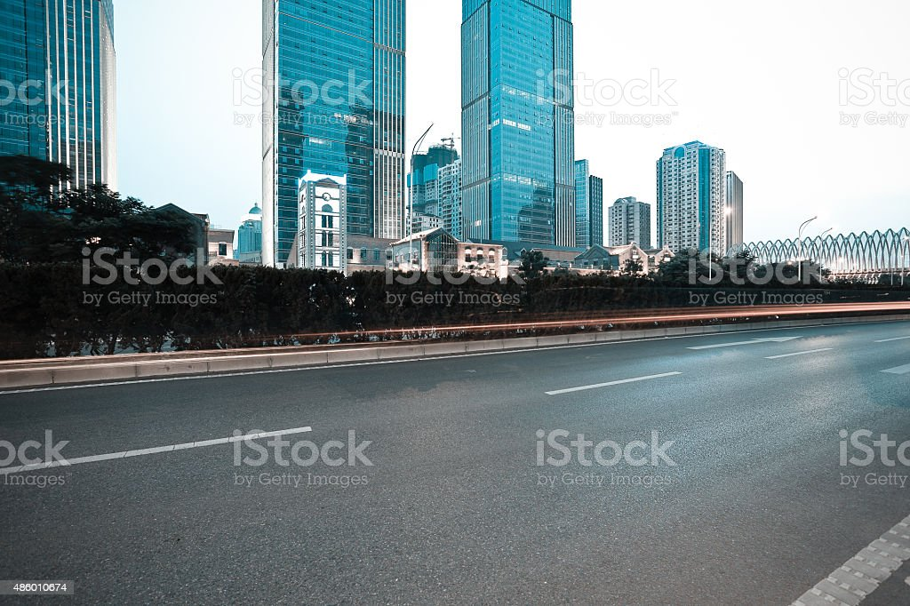 City building street scene and road surface stock photo