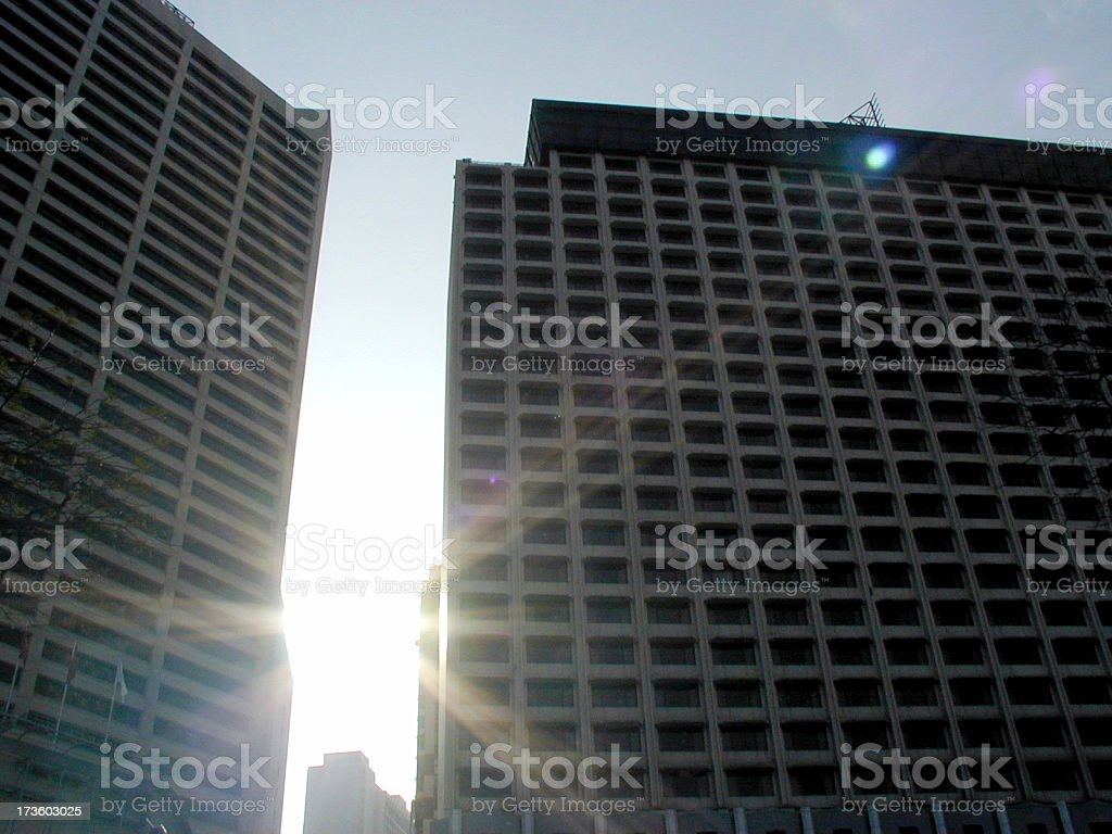 City Buildings Against Sunrise Sky royalty-free stock photo