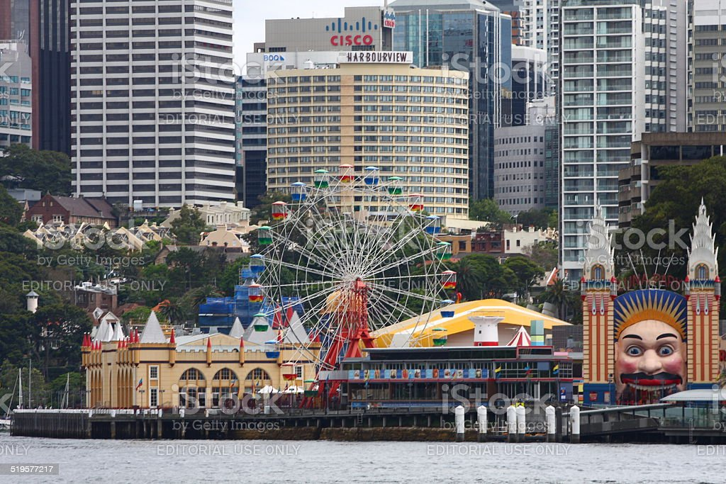 City buildings along the Sydney Harbour: Luna Park in foreground stock photo