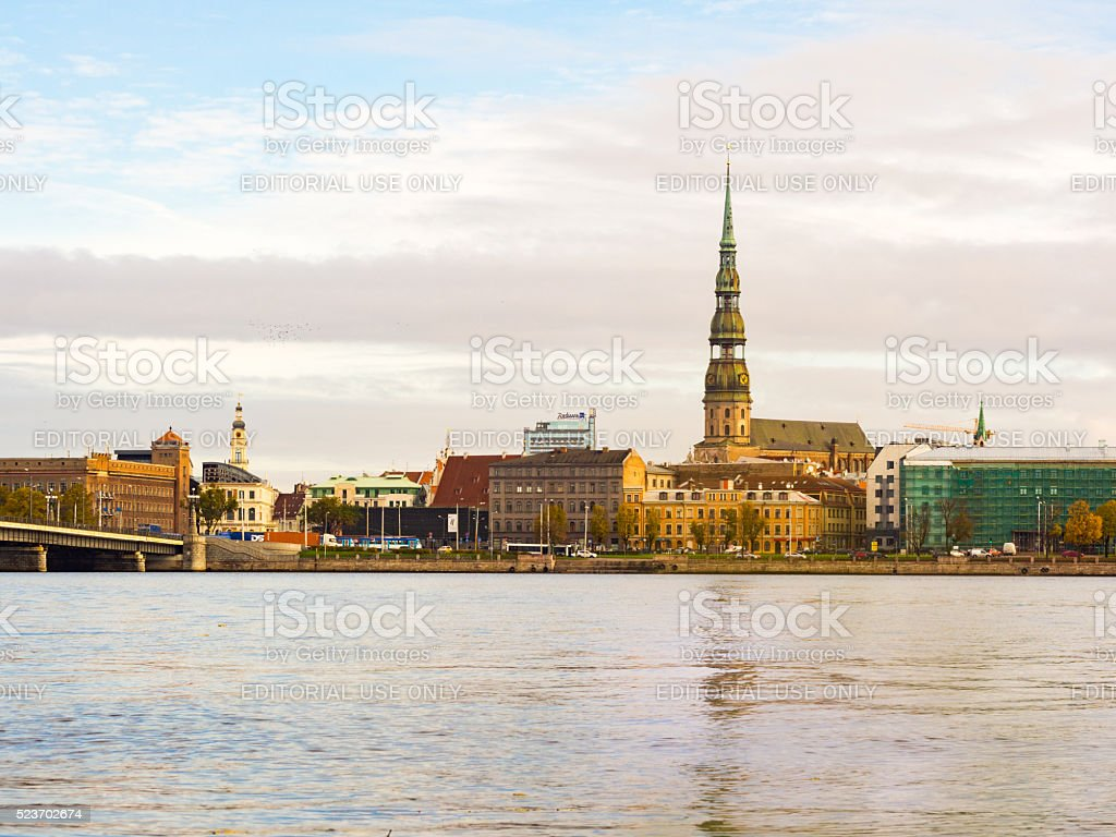 City buildings by the river in Riga, Latvia stock photo