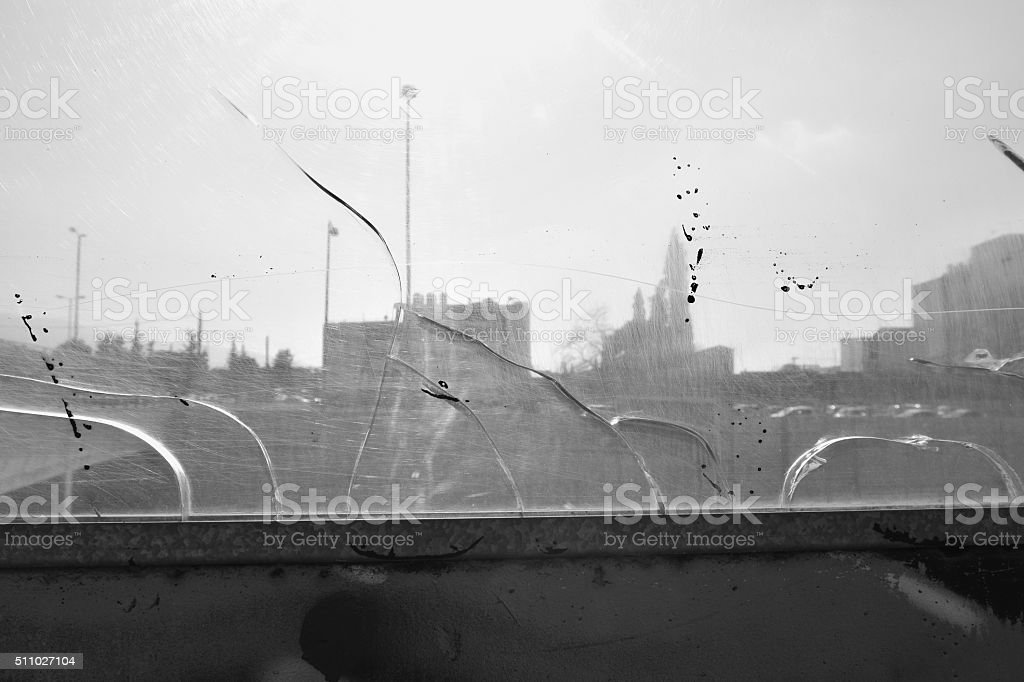city buildings cracked glass stock photo