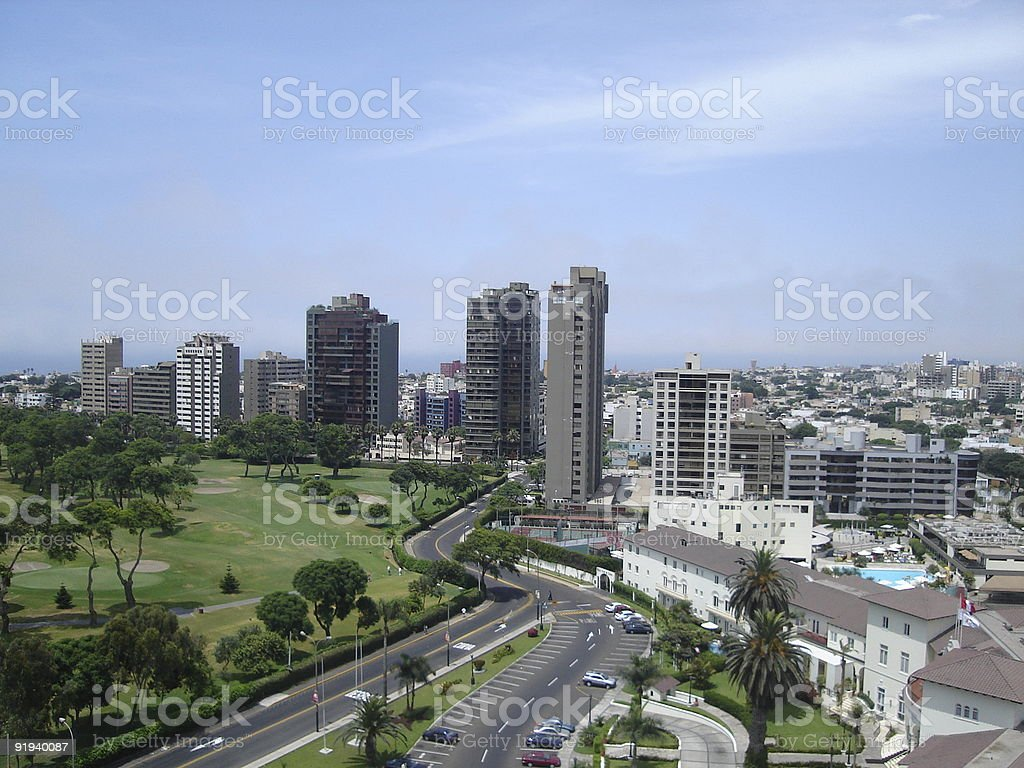 City buildings in San Isidro with highway stock photo