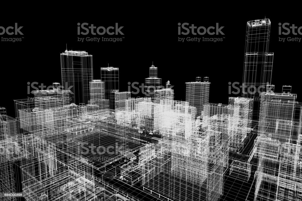 City buildings project, 3d wireframe print, design. Architecture,...