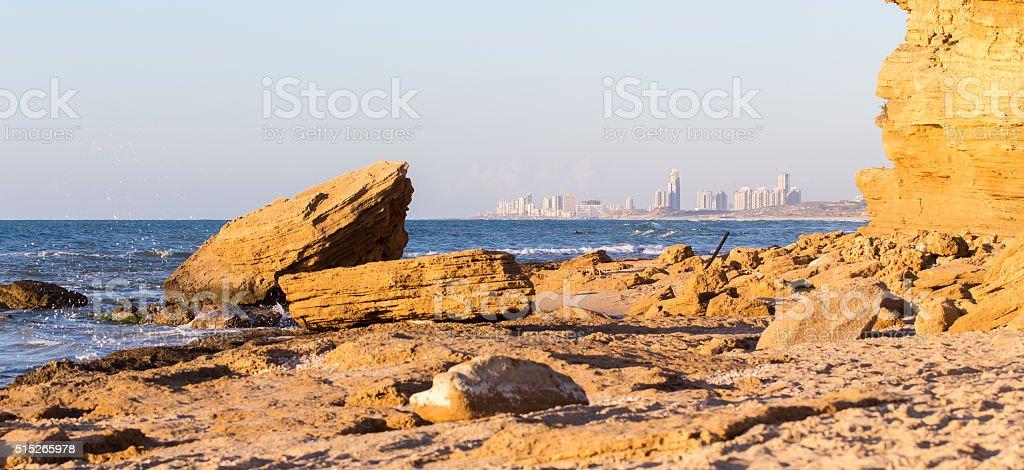 City buildings sea shore view, sunset panorama. stock photo
