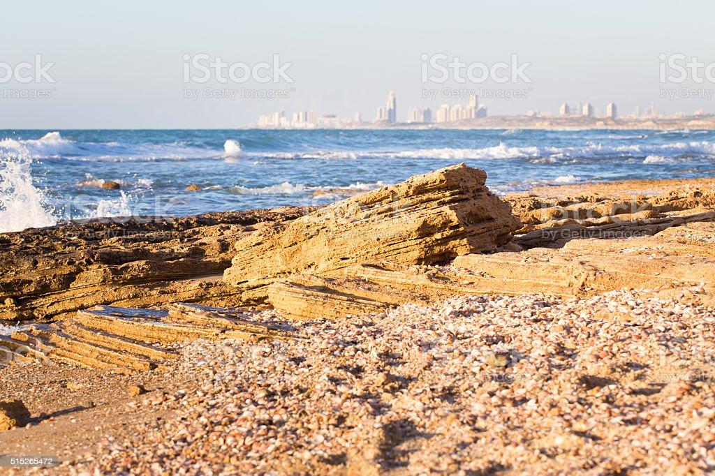 City buildings sea shore view, sunset. stock photo