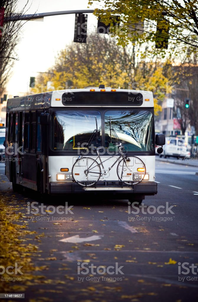 City Bus Driving It's Route royalty-free stock photo