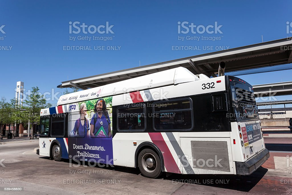 City bus in Fort Worth, USA stock photo