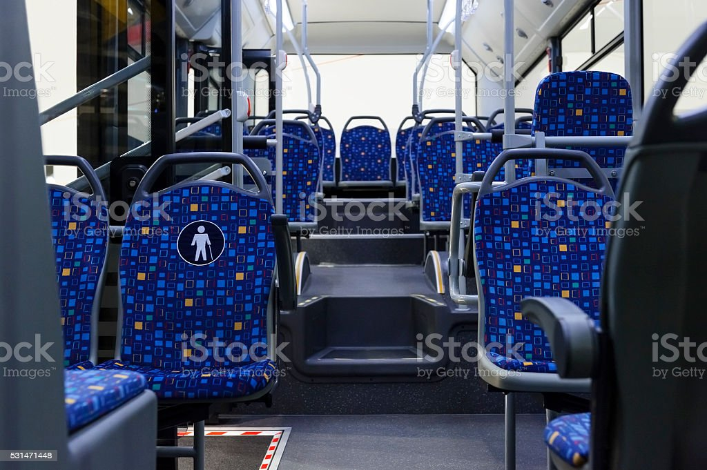 City bus inside stock photo