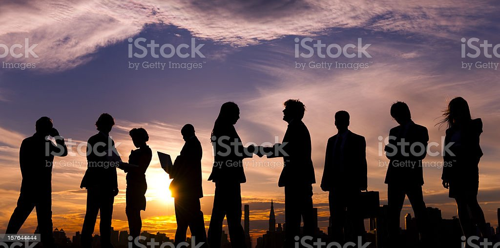 City Business people at Sunset royalty-free stock photo