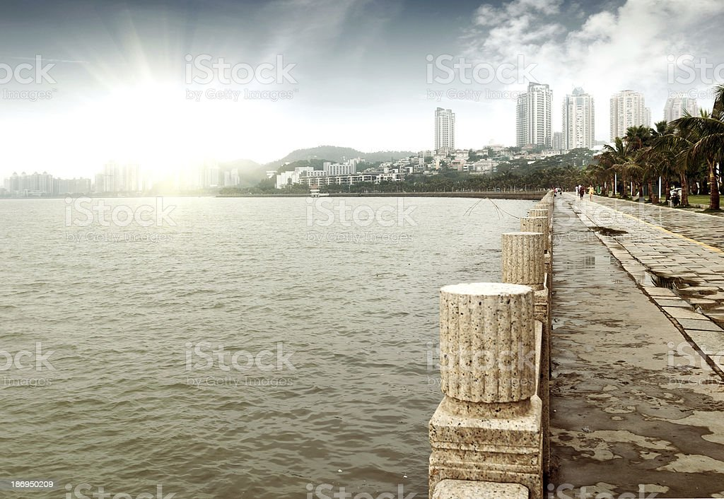 City by the sea stock photo