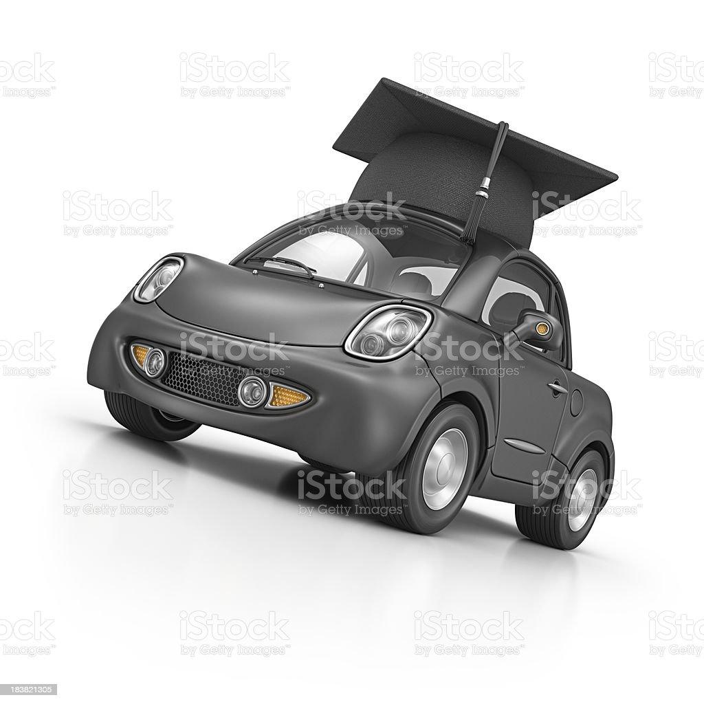 city car and mortar board royalty-free stock photo