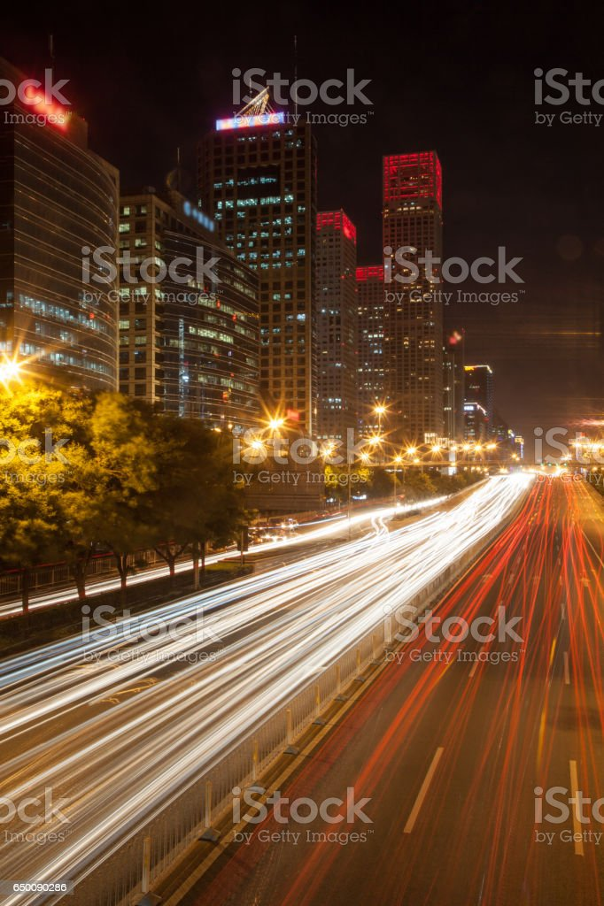 City car light trace stock photo