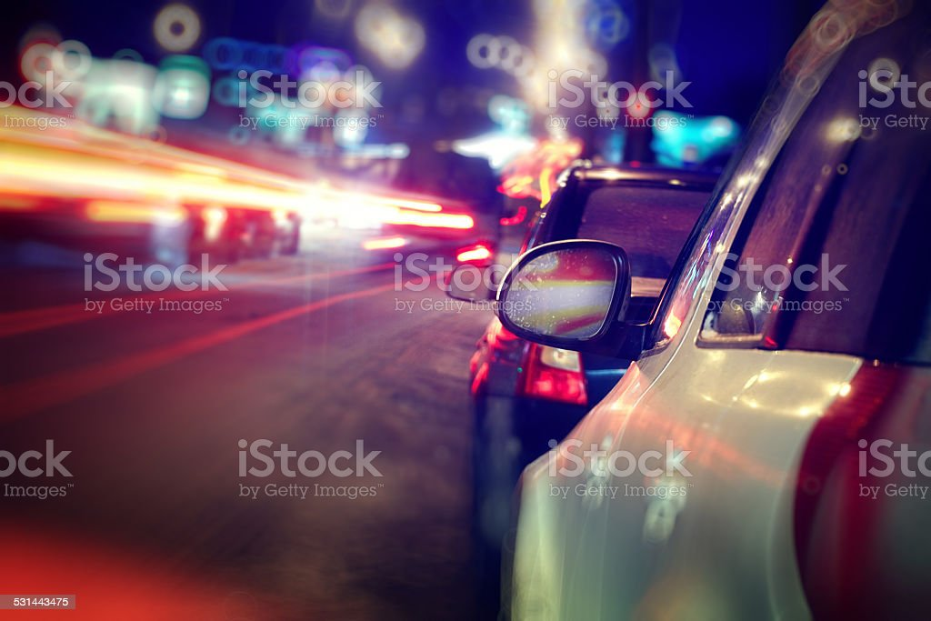 city car traffic jams night lights stock photo