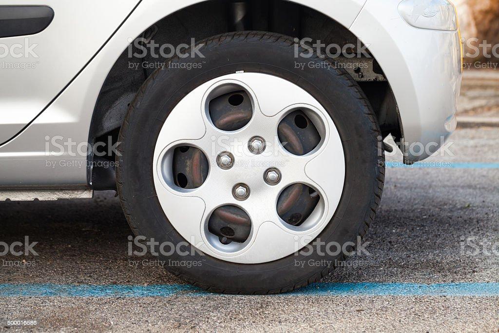 City car wheel, gray light alloy disc stock photo