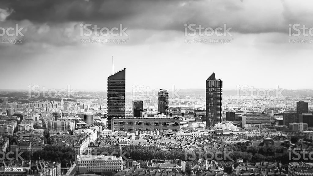 City center of lyon in France, from the sky stock photo