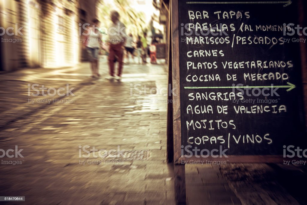 City center of Valencia: tapas restaurant menu in the streets stock photo