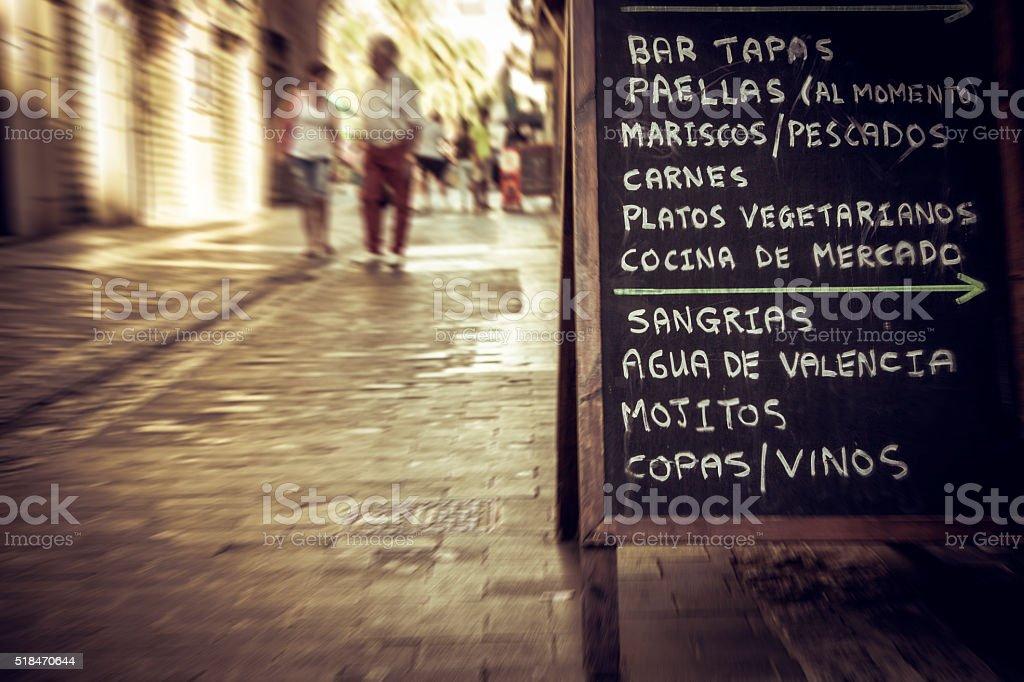 City center of Valencia: tapas restaurant menu in the streets stock photo