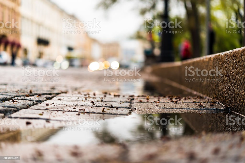 City central square paved with stone after a rain stock photo