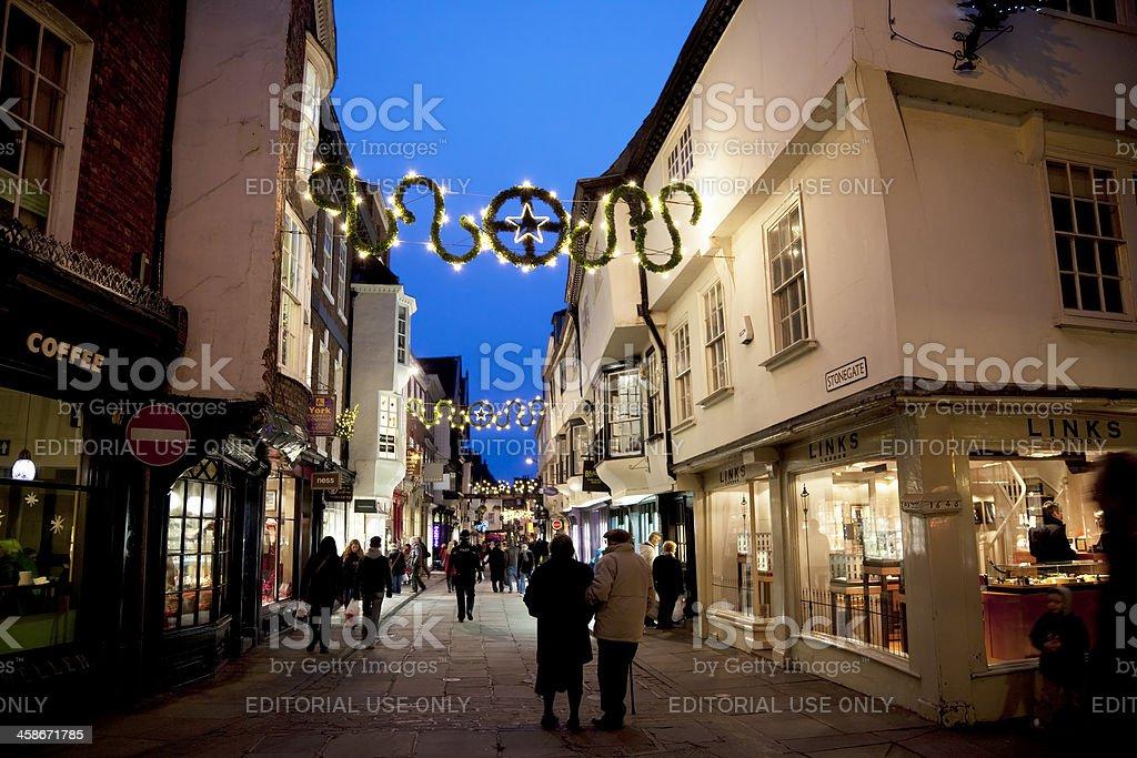 City centre evening shopping stock photo