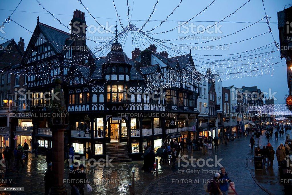 City centre evening shopping royalty-free stock photo