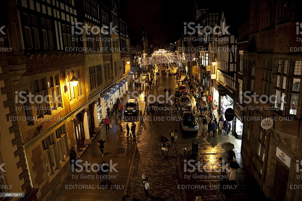 City centre night time shopping royalty-free stock photo
