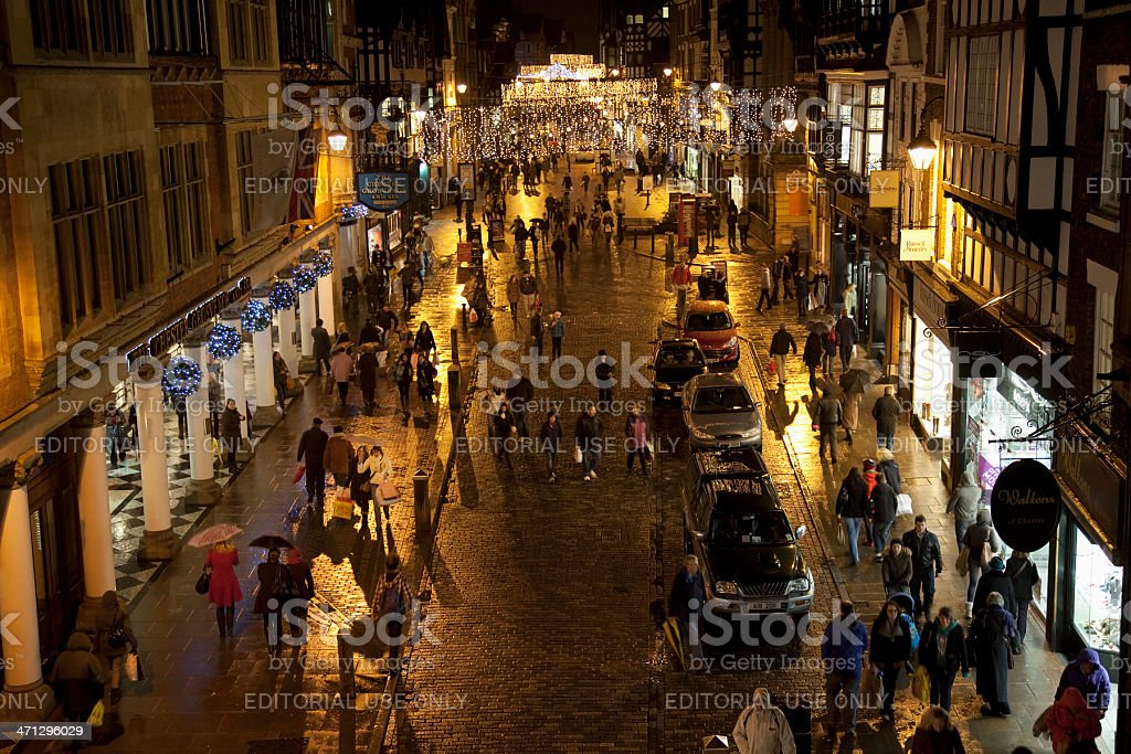 City centre night time shopping stock photo