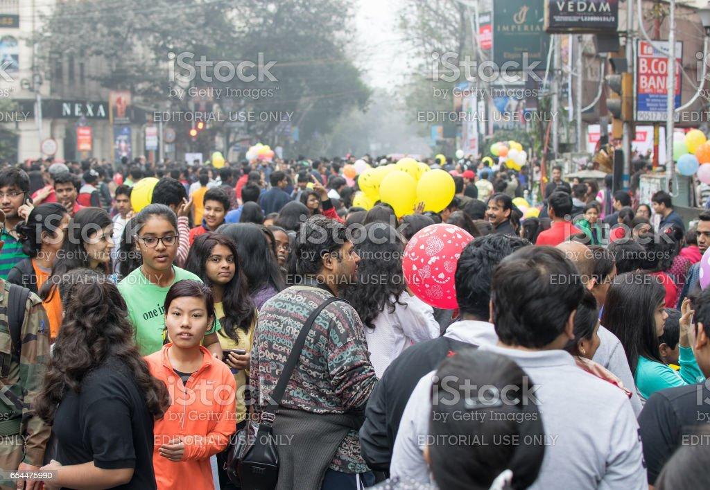 City children enjoying at Park Street, Kolkata stock photo