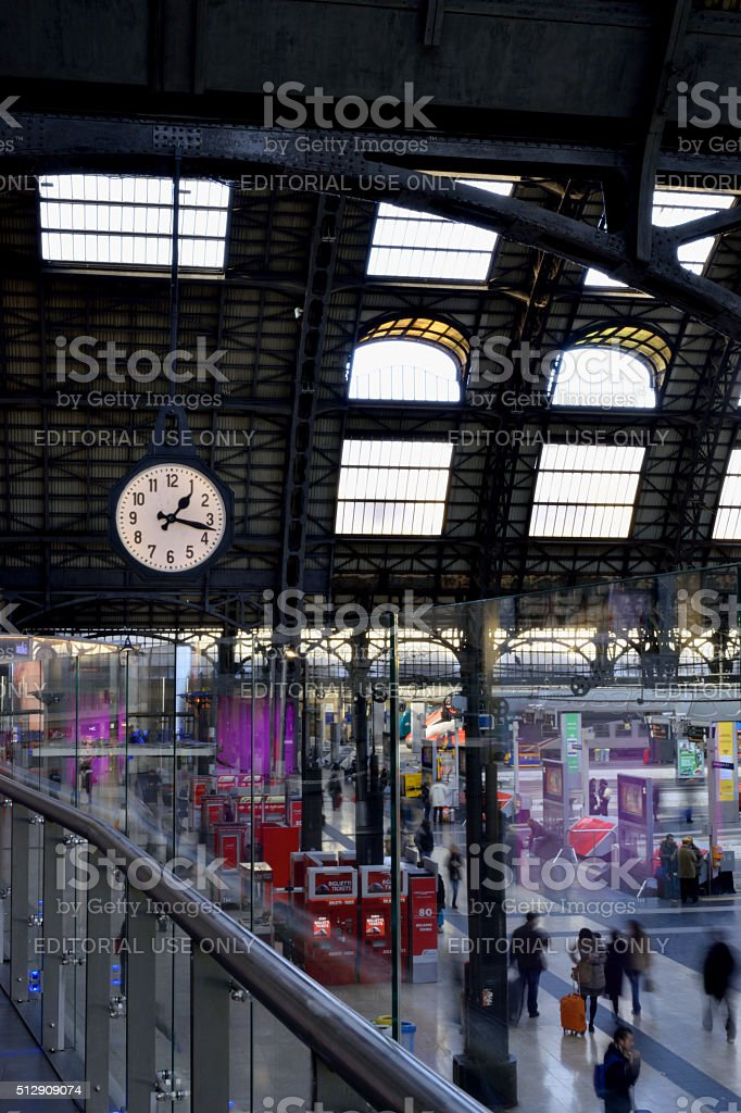 City clock in the railway station stock photo