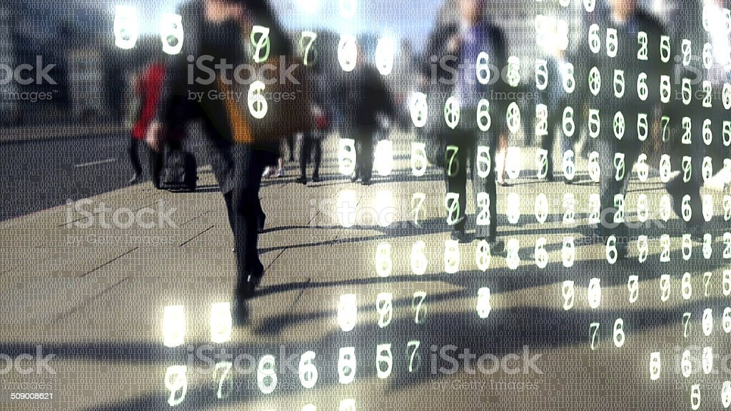 City commuters made of binary code. stock photo