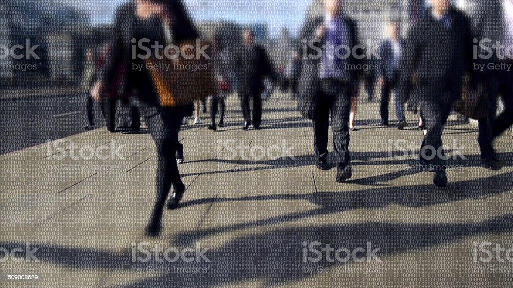 City commuters made of binary code. stock photo
