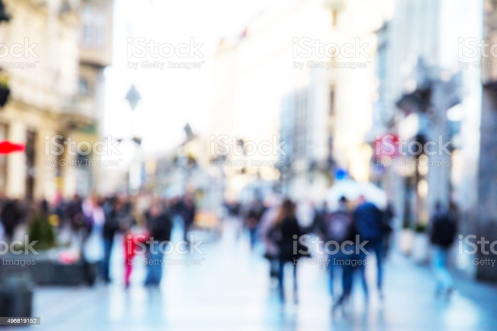 City  commuters, people walking in the street. Unrecognizable faces. stock photo