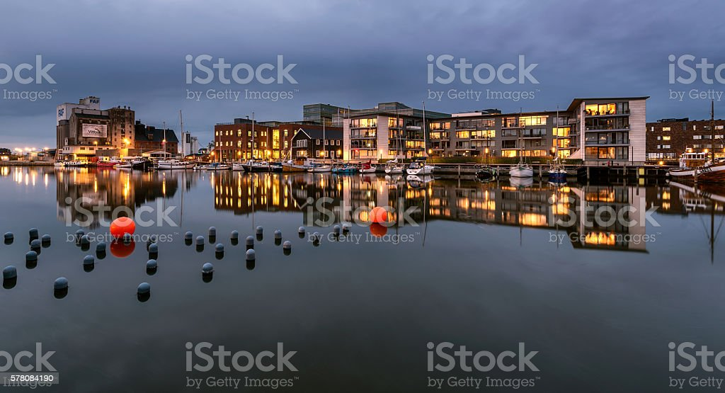 City complex at Odense harbor, Denmark stock photo