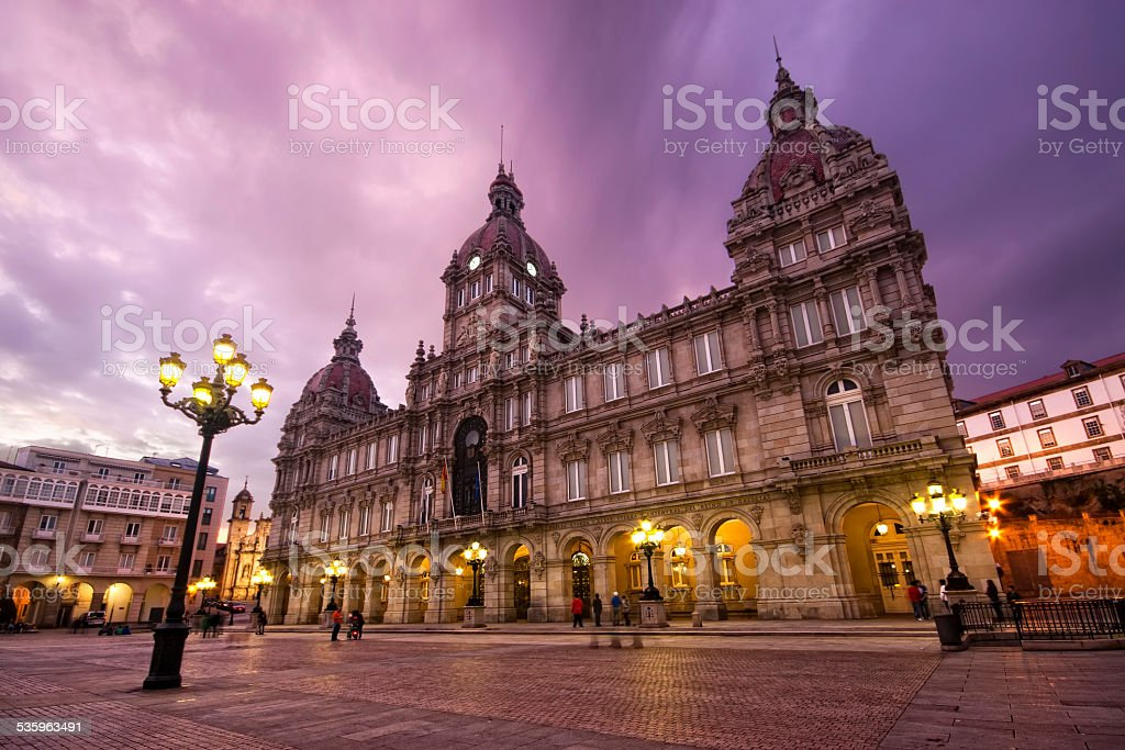City council of La Coruna, Galicia, Spain stock photo