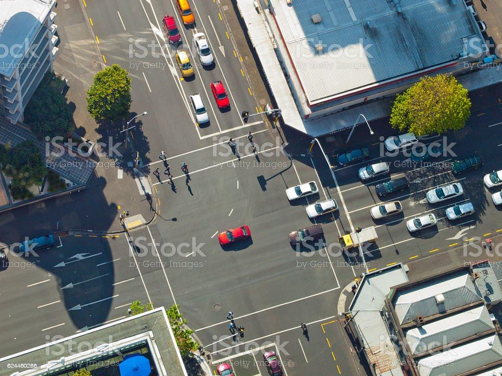 City crossroad scene stock photo