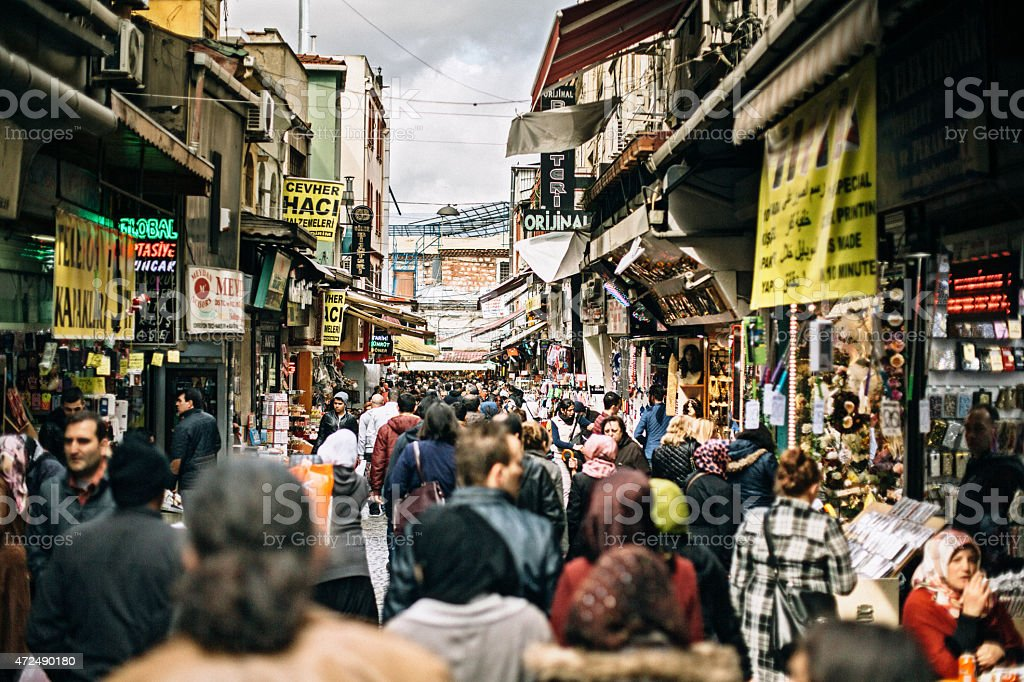 City crowd in Istanbul stock photo