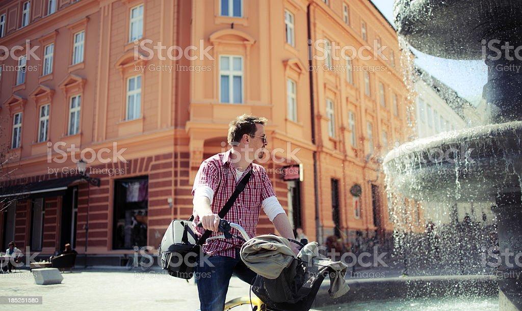 City cyclist, Europe royalty-free stock photo