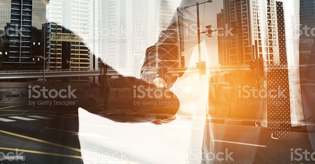 City deals in the making stock photo