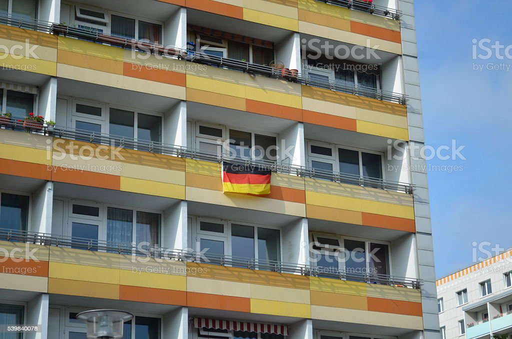 city decorated with german flags stock photo