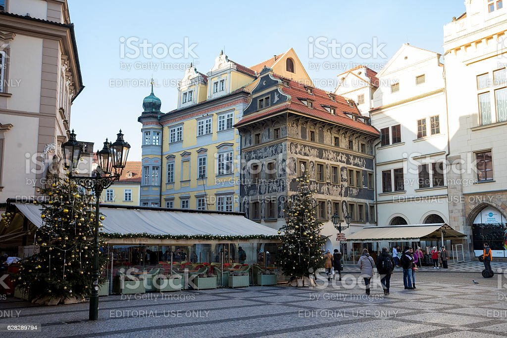 City decoration in advent christmas time at Prague stock photo