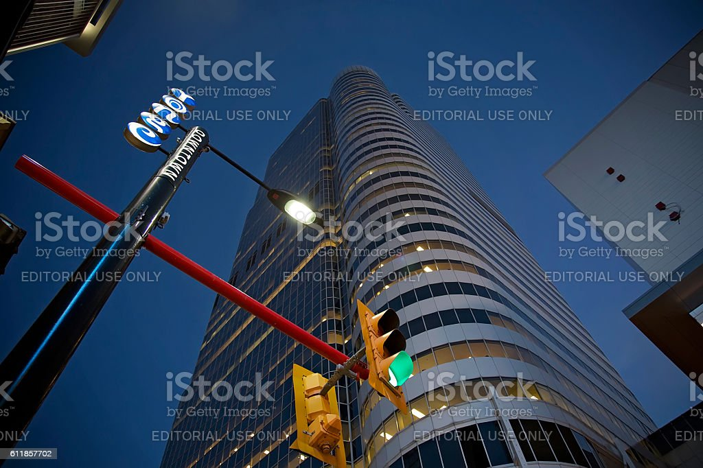 City downtown at night stock photo