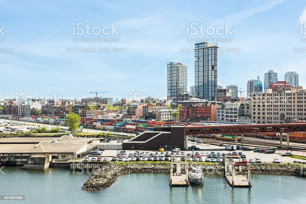 City downtown skyline or cityscape with industrial port stock photo