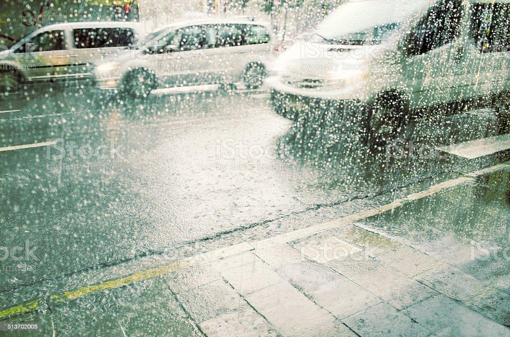 City Driving in Heavy Rain stock photo