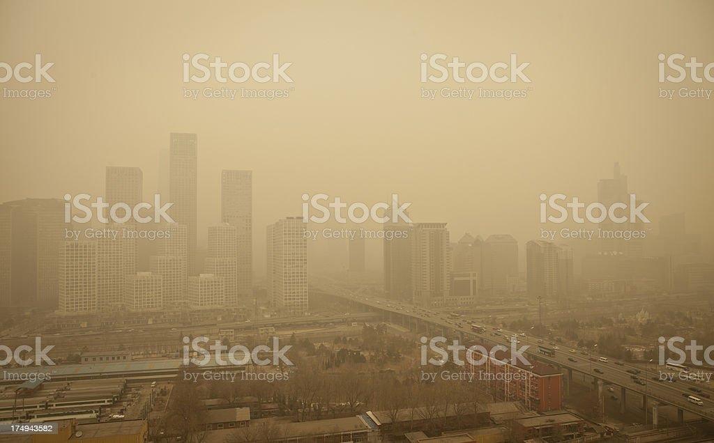 City dying in polutionaabeijing stock photo