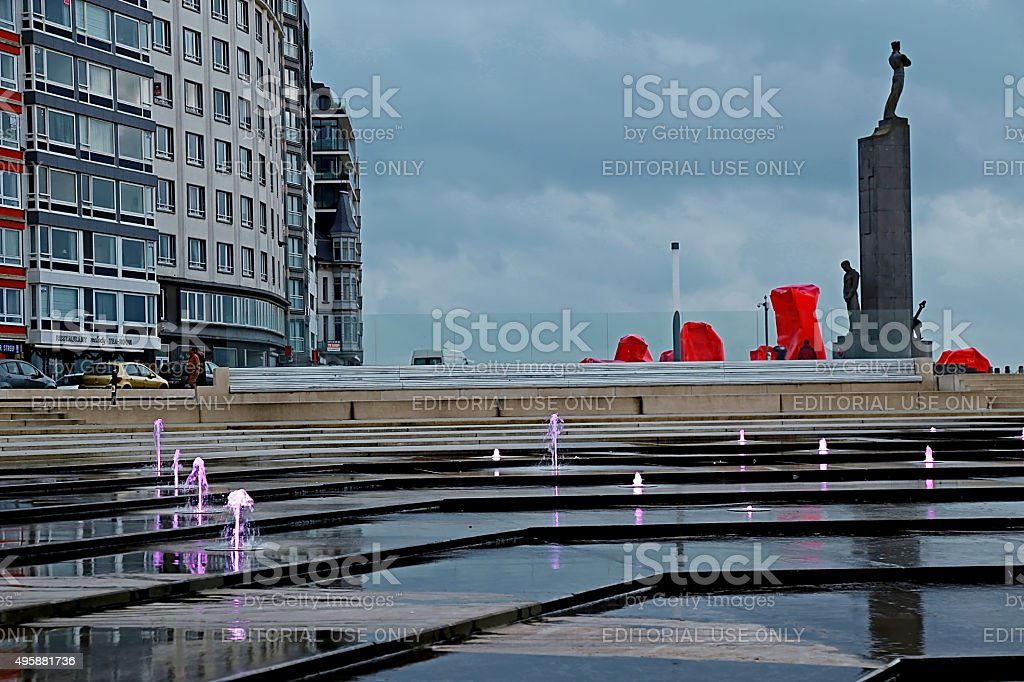 City embankment with famous sculpture in Ostend, Belgium stock photo