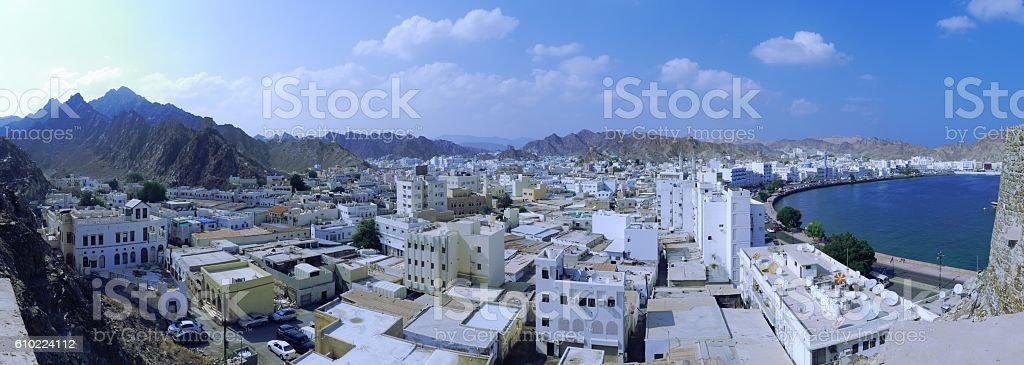 City embedded in rocks stock photo
