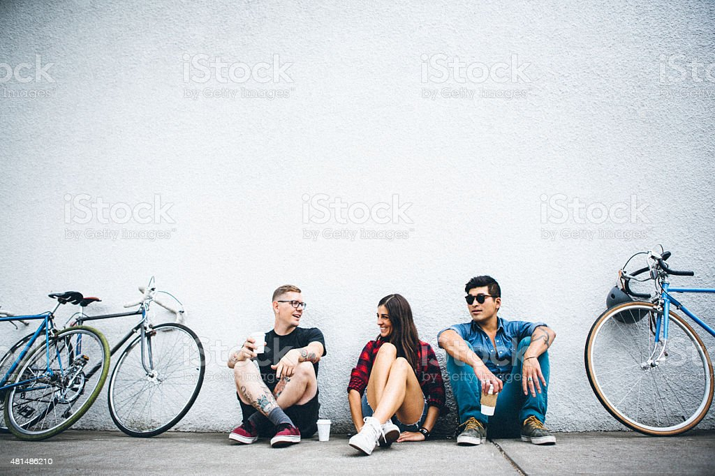 City Friends with Bikes and Coffee stock photo