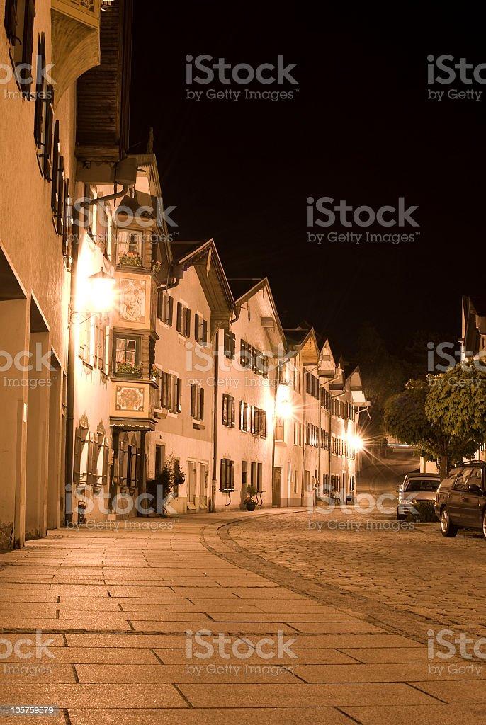 City 'Füssen' in the night royalty-free stock photo