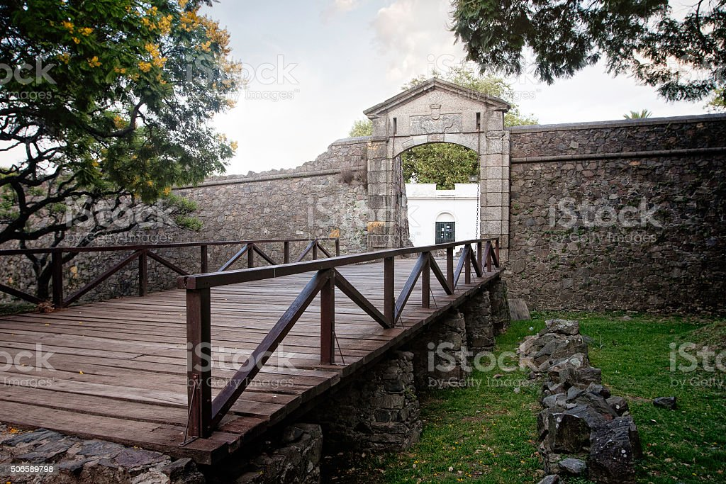 City gate in Colonia del Sacramento historic quarters stock photo
