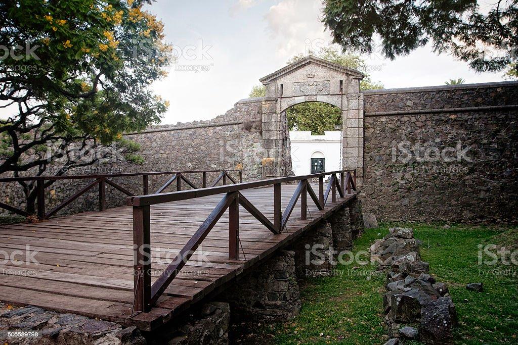 City gate in Colonia del Sacramento historic quarters stock photo