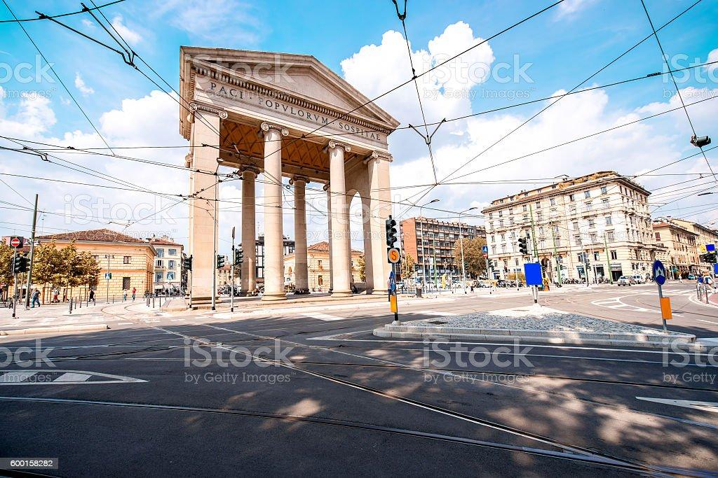 City gate in Milan stock photo